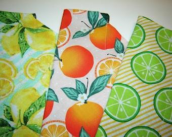 Choice Fruit - Lemons, Limes or Oranges Dog Scarf Over the Collar Dog Bandana