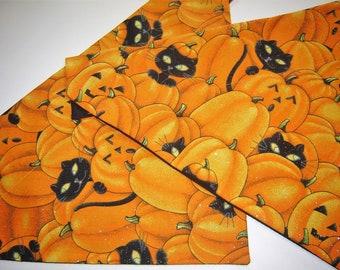 Sparkly Halloween Pumpkins with Black Cats Dog Scarf Over the Collar Dog Bandana