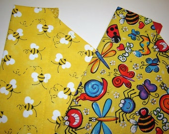 Busy Bumblebees OR Happy Bugs on Yellow Dog Scarf Over the Collar Dog Bandana