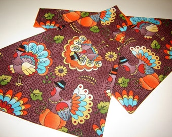 Colorful Thanksgiving Turkeys on Brown Dog Scarf Over the Collar Dog Bandana
