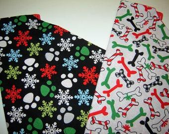 Choice Holiday Dog Bones on White OR Paw Prints and Snowflakes on Black Dog Scarf Over the Collar Dog Bandana
