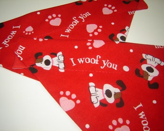 Lovable 'I Woof You' Dog Scarf Over the Collar Dog Bandana
