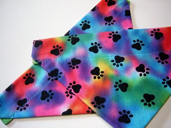 Rainbow paws pet scarf
