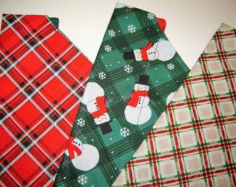 Christmas SALE! Your Choice of 3 Christmas Plaids Dog Scarf Over the Collar Dog Bandana