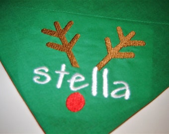 Personalized Rudolph the Reindeer on Green Dog Scarf Over the Collar Dog Bandana
