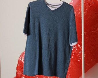 b4cdb74f3c Vintage Blue Double Shirt / Men's Vintage Shirt / 90s Striped Shirt / Large