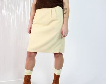 b4d18278e High Rise Cream Skirt / 80s Pleated Partial Elastic Skirt / M Medium