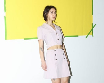 Purple Lavender Crop Skirt Set / Matching Pastel Two Piece Skirt Suit / Medium Med M 28 Inch Waist