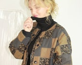 Brown Quilted Jacket Pattern Contrast Bomber Jacket OS XL Extra Large