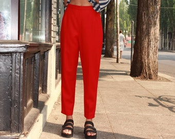 6a5e98d47a9db Red Wool Tapered Trousers   Bright Red Pants   Medium M