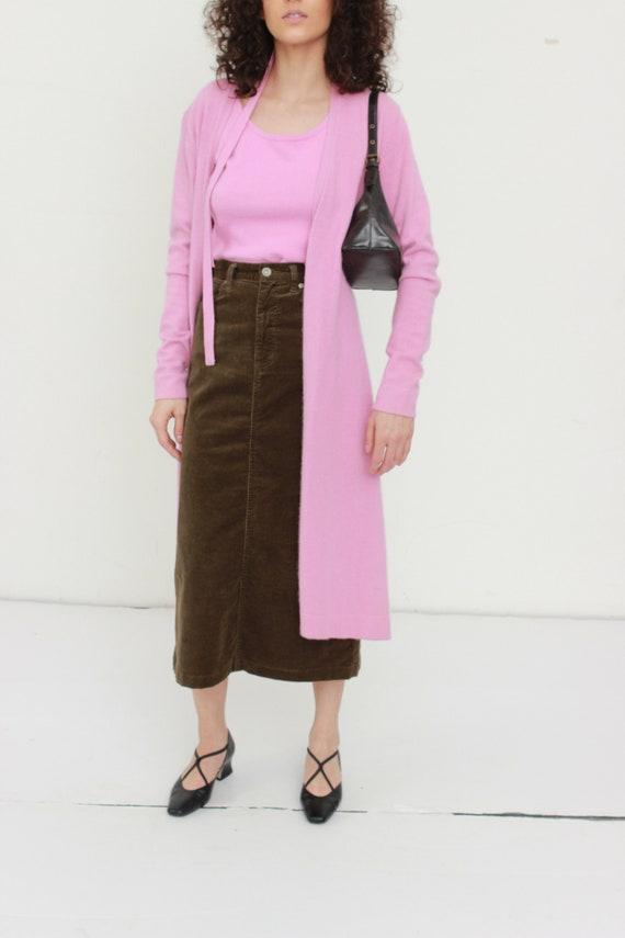 Brown Corduroy Long Skirt