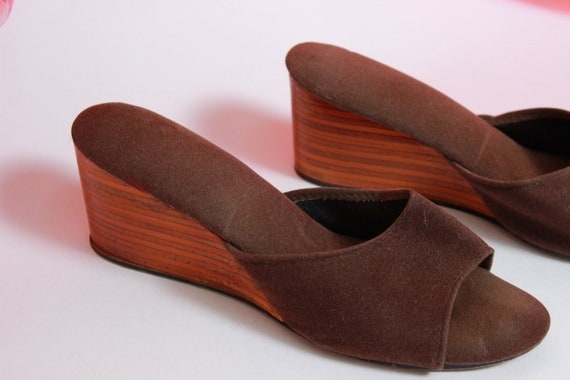 velours sur d diapositives Smooth chaussure glissement Wedge minimaliste Brown dIww6xRq
