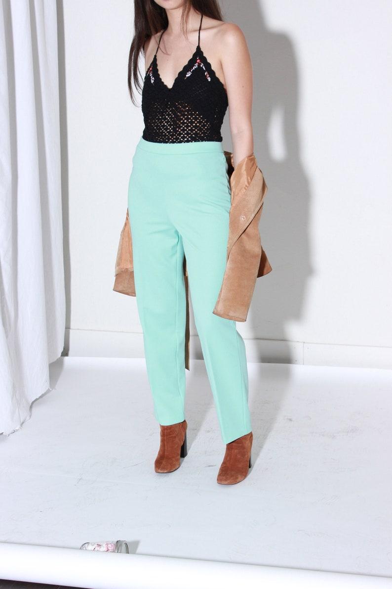 70s Blue Mint High Rise Trousers  Medium