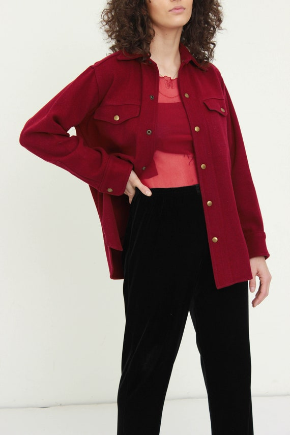 90s Red Wool Shirt Jacket