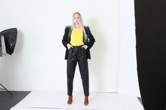 80s Black Leather Trouser Pants