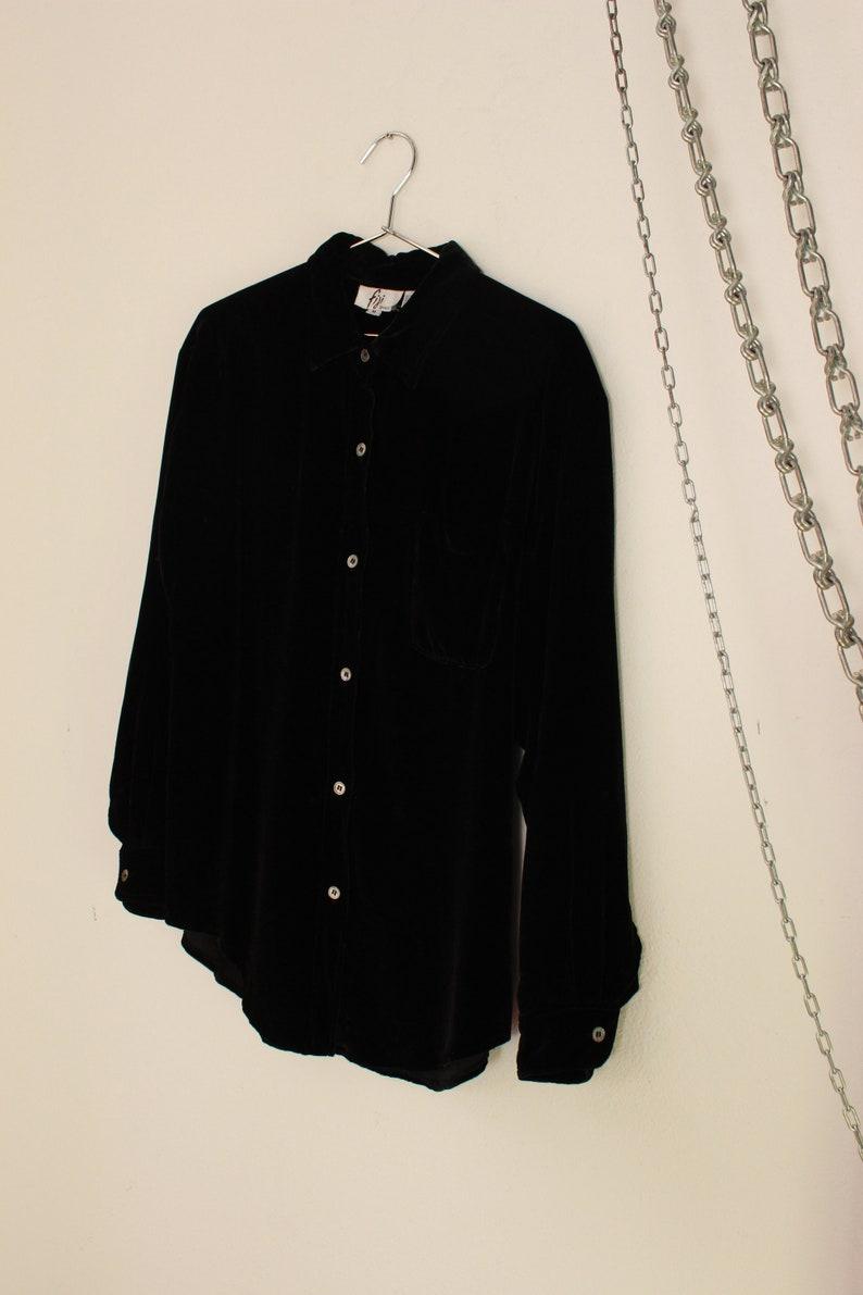 Black Velour Button Down  Velvet Blouse  Medium Large