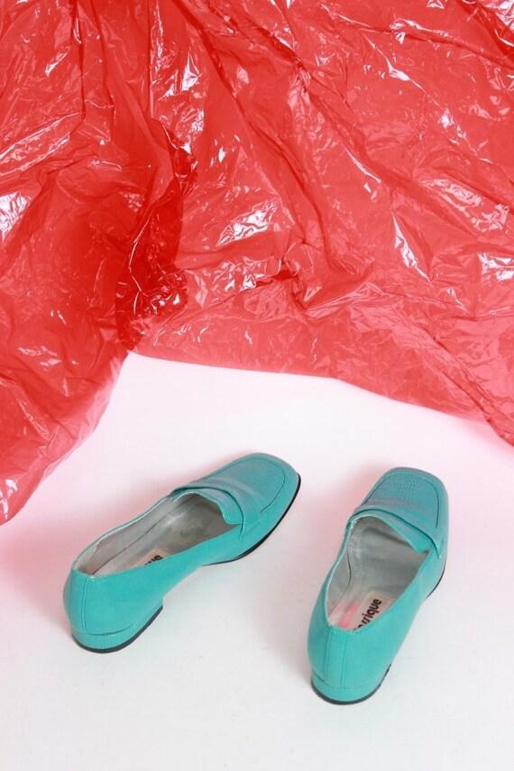 Color chaussures cuir glissez Block Mocassins en 7 turquoises peau verni sur de chaussures serpent taille le 5 fwUXPxU