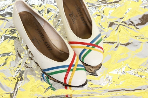 Primary White Low 80's Size Stripe 5 Heel Shoes Pumps Fwdgpqz