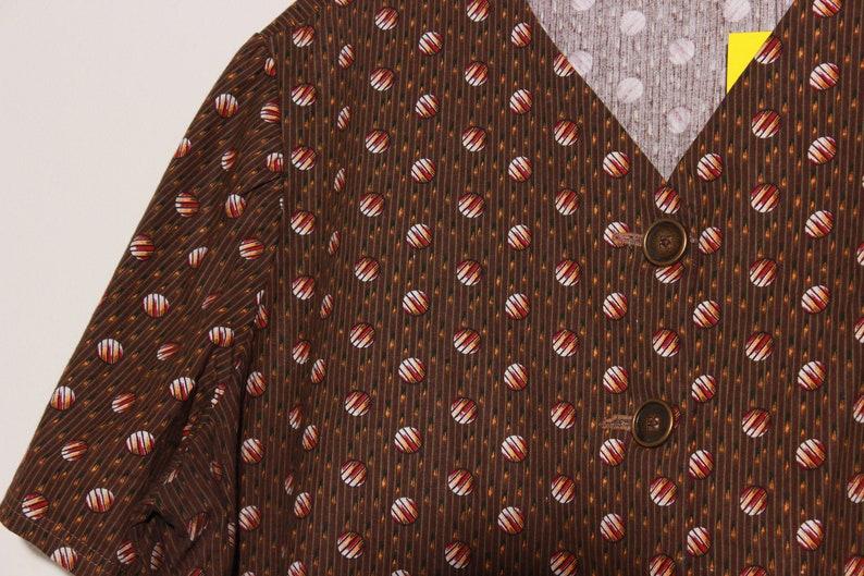 Brown Circle Print Button Down  Large