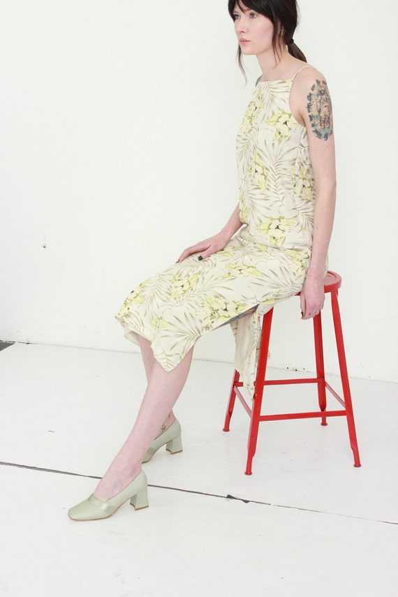 Yellow Floral Silk Linen Market Dress