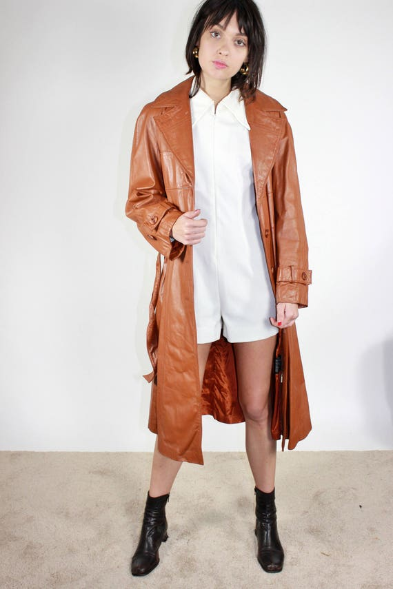 Leather Leather Brown Trench Coat Jacket Classic Large Americana 70s L YdSTwqS