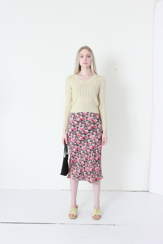 Bias Cut Fitted Floral Skirt