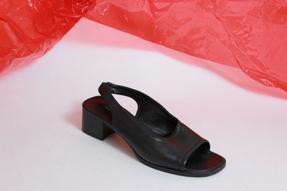 Leather Slip On Mules Heel Outs Cut 6 5 Slingback Minimalist Size Heels Low Black Epwx6qSn
