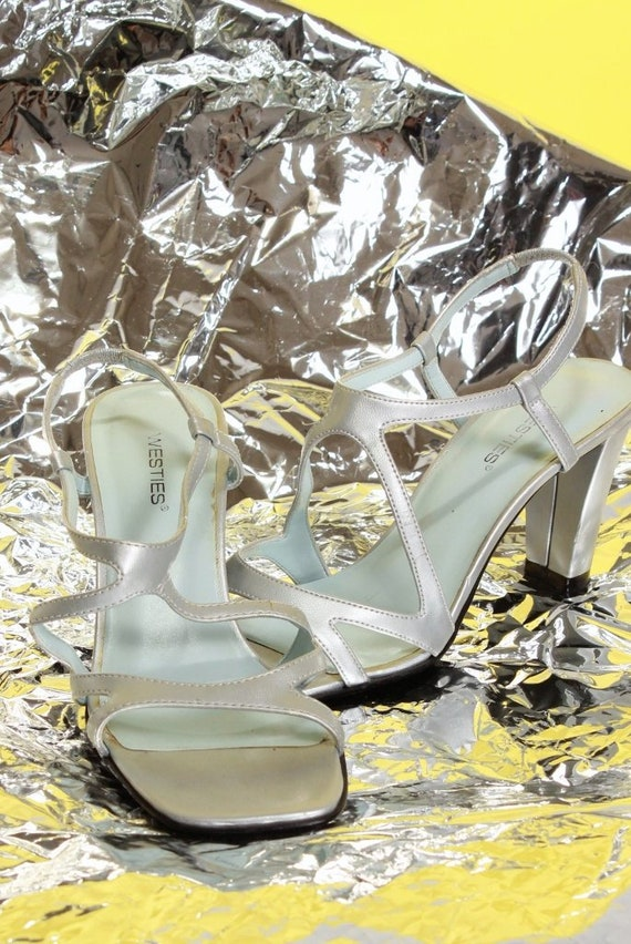 Silver Sandals 7 Heels Cage Shine Size Strappy YwPEIg