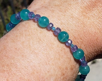 Bead Bracelet with Amazonite, Apatite and Tanzanite