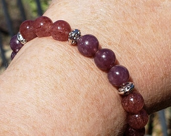 Bead Bracelet with Purple Lepidolite and Lepidocrocite, AAA Strawberry quartz bracelet