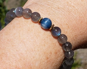 Bead Bracelet with AAA Nautral Blue Labradorite and Kyanite
