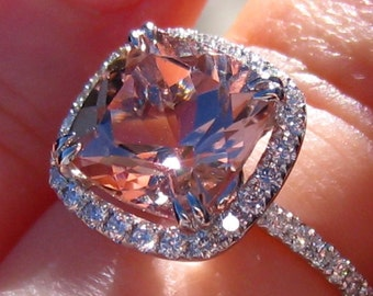 Cushion Morganite in White Gold Diamond Halo Engagement Ring, Morganite Engagement Ring