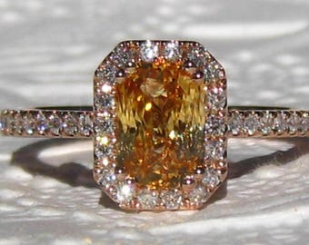 Radiant Apricot Peach Sapphire Rose Gold Diamond Halo Engagement Ring, Rose Gold Engagement Ring, Pink Sapphire Ring