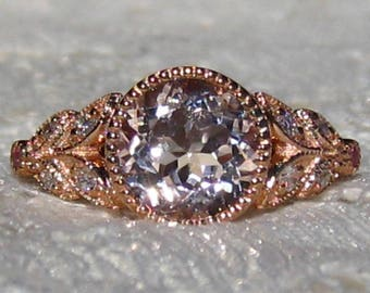 Floral Morganite Engagement Ring, Rose Gold Engagement Ring, Peachy Pink Morganite in Rose Gold Milgrain Bezel Laurel Ring