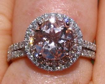 Morganite Wedding Set Morganite Engagement Ring And Wedding Etsy