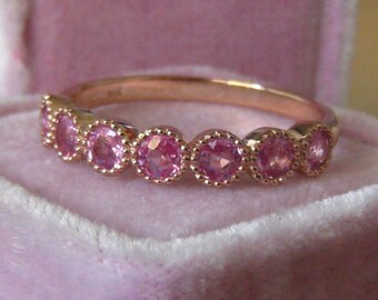 Rose Cut Pink Sapphires in Rose Gold Milgrain Bezel Wedding Band, Anniversary Band