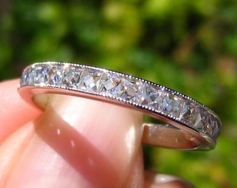 French Cut Classique Moissanites in White Gold Milgrain Bezel Wedding Band, French Cut Band