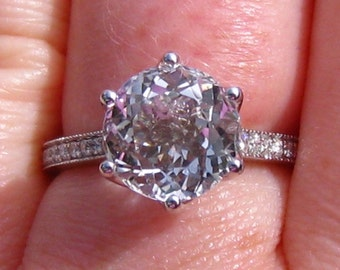 White Topaz in White Gold Lily Diamond Engagement Ring