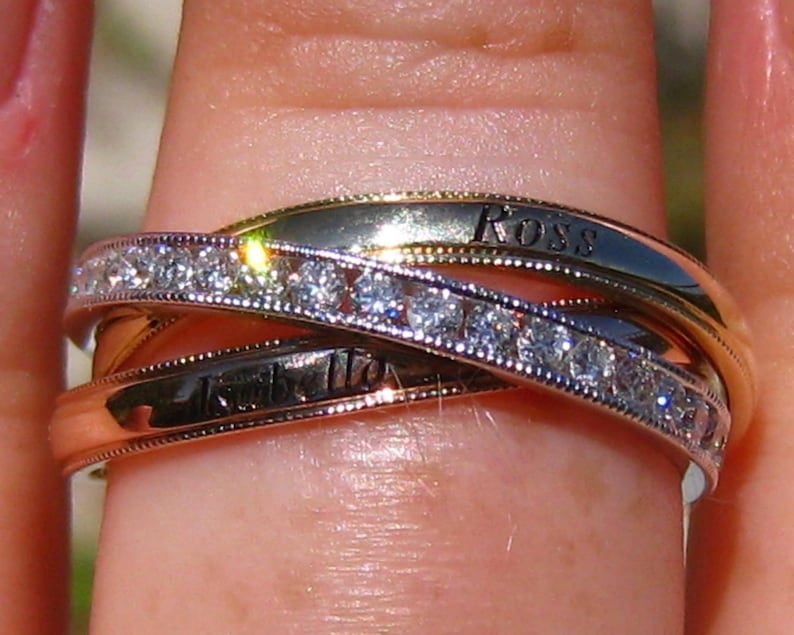 b0c8ac32aafc2 Personalized Tri-Color Diamond Rolling Ring, Russian Wedding Ring, Trinity  Ring, Diamond Wedding Ring, Anniversary Ring, Stacking Rings