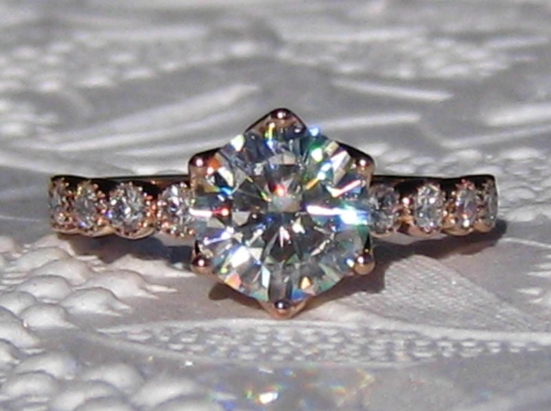 8565c9d93854f Forever One Moissanite Engagement Ring, Rose Gold LILY Solitaire Diamond  Engagement Ring