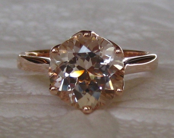 8f4a48481982f Peachy Pink Morganite in Rose Gold Lily Solitaire Engagement Ring