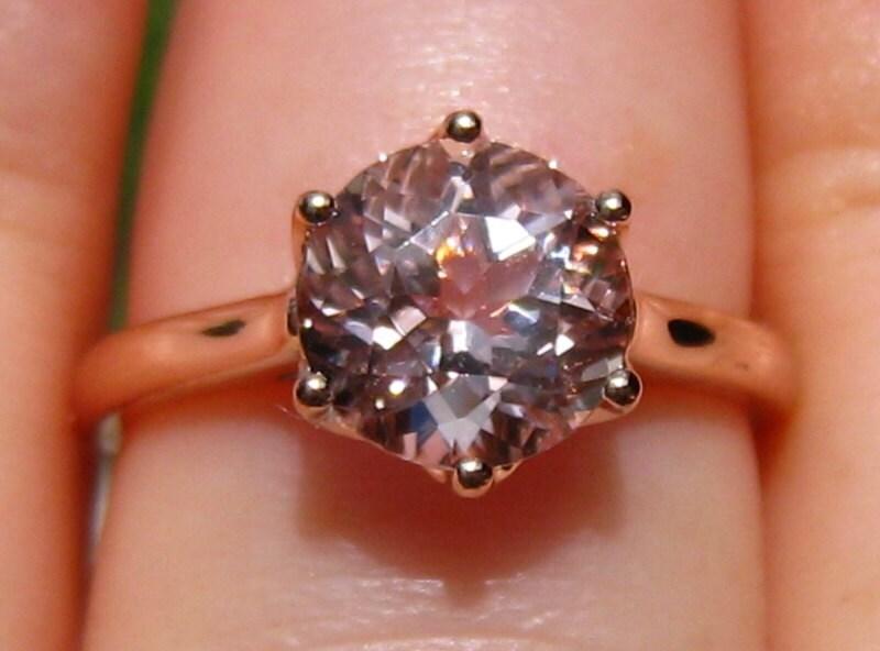 7f33e250baebc Peachy Pink Morganite in Rose Gold Lily Solitaire Engagement Ring,  Morganite Engagement Ring, Rose Gold Engagement Ring