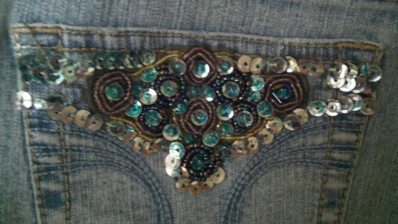 TeensAdults Recyled Blue Jean Apron-Lace Edged Sequined Pockets Includes Free First Class Shipping