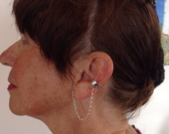 Sterling Silver Ear Cuff with Chain, FREE SHIPPING