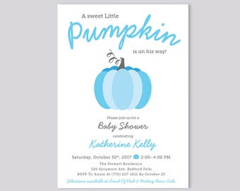 Blue Little Pumpkin on His Way Baby Shower Invitation, Boy Baby Shower Invite, Halloween or Fall Baby Shower, Thanksgiving Blue and Gray