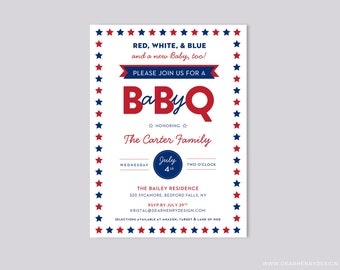 Baby-Q Red White Blue Babyque Baby Shower Invitation, 4th of July Invite, BBQ Couples Shower, BabyQ Summer Patriotic Stars Flag Independence