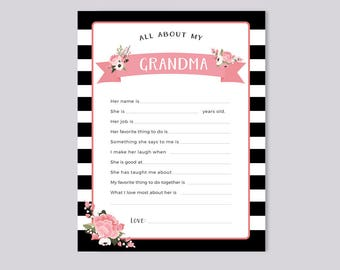 Printable All About My Grandma Instant Download, Grandparents Day Questionnaire, Grandparent's Day Gift,  Blank card from Grandkids & kids
