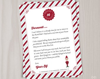photograph relating to Printable Elf on the Shelf Goodbye Letter called Elf upon the shelf letters Etsy