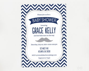 Blue Oh Baby Shower Invitation Confetti Baby Shower Invite Etsy