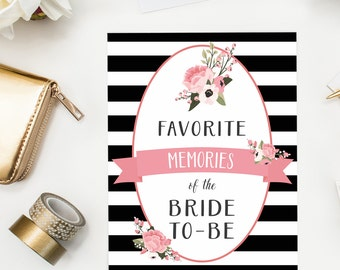 favorite memories of the bride to be activity pink floral bridal shower game bride to be memory keepsake instant download card and sign